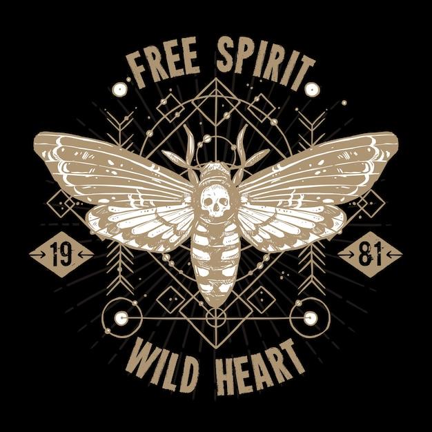 Tatuaż okultystyczny motyla. wolny duch, dzikie serce Darmowych Wektorów
