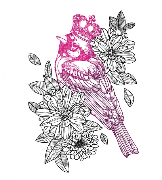 Tatuaż ptak Premium Wektorów