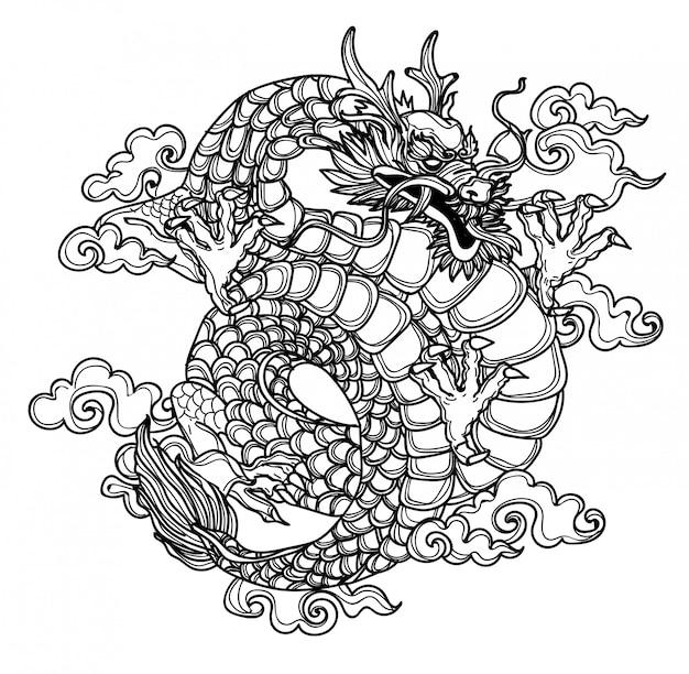 Tatuaż Rysunek Ręka Dargon I Szkic Czarno-biały Premium Wektorów