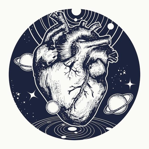 Tatuaż serca w kosmosie Premium Wektorów