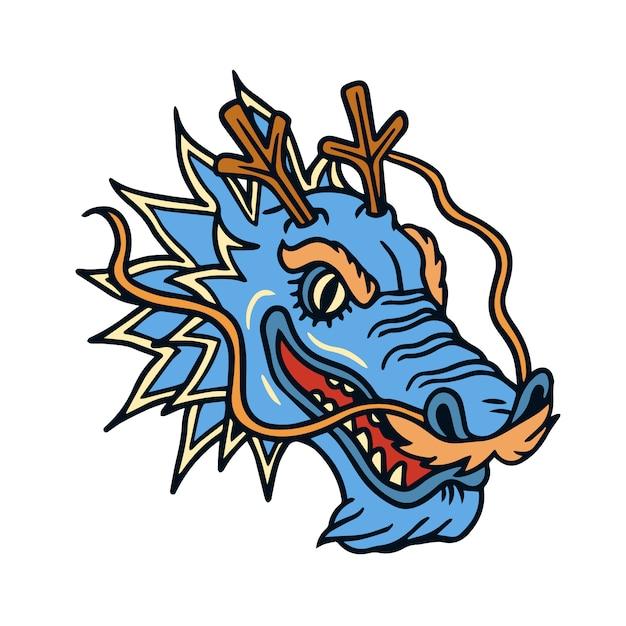Tatuaż Starej Szkoły Głowy Niebieskiego Smoka Premium Wektorów