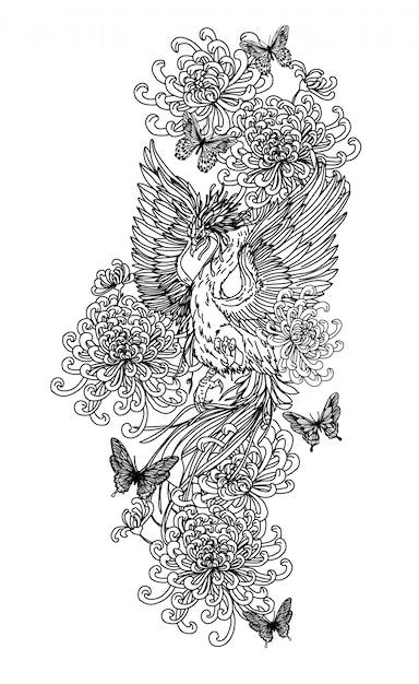 Tatuaż Sztuka Ptak Rysunek I Szkic Czarno-białe Na Białym Tle. Premium Wektorów