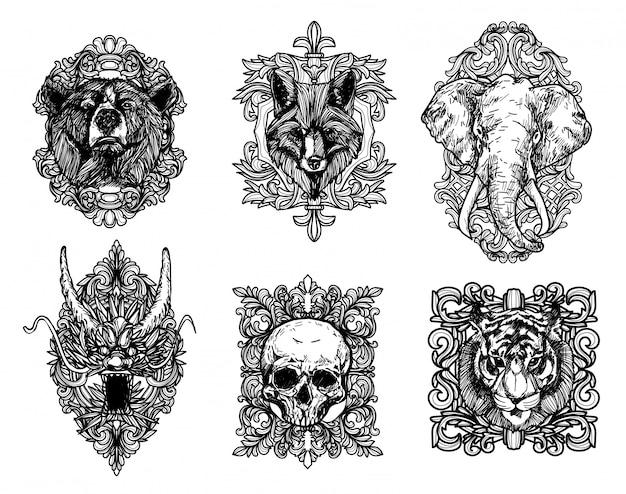 Tatuaż Sztuka Tygrys Smok Wilk Słoń Premium Wektorów