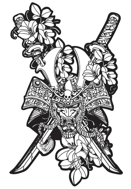 Tatuaż Sztuka Wojownik Głowa I Kwiaty Rysunek Ręka I Szkic