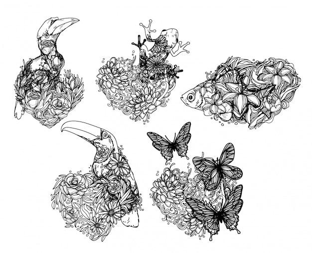 Tatuaż Sztuki Tropikalnej Dzikiej Przyrody, Rysunek I Szkic Czarno-biały Premium Wektorów