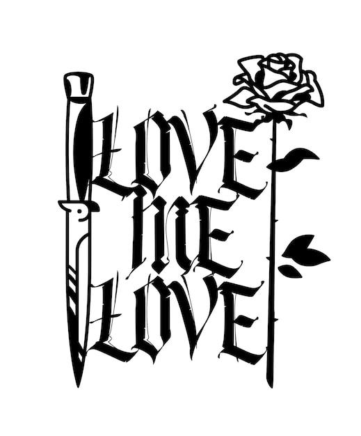 Tatuaż Z Nożem I Różą Wektor Premium Pobieranie
