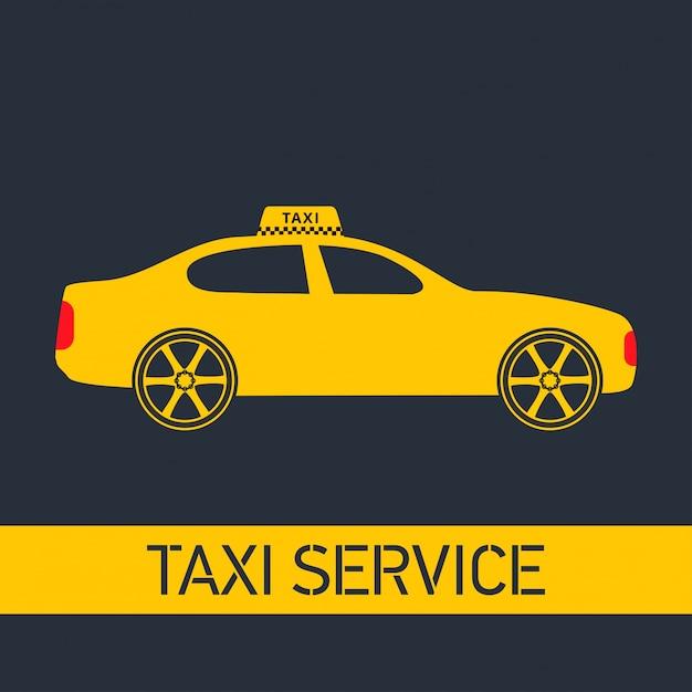 Taxi icon taxi service żółty taxi samochód szare tło Darmowych Wektorów