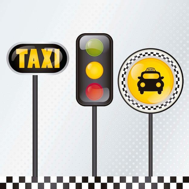 Taxi ikona z srebną tło wektoru ilustracją Premium Wektorów