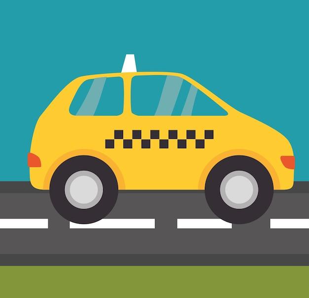Taxi Na Ulicy Premium Wektorów