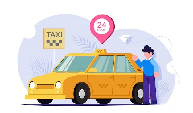 Taxi Online 24 Godziny Na Dobę. Kierowca Lub Klient W Pobliżu żółtego Samochodu. Serwis 24-godzinny Działa. Premium Wektorów