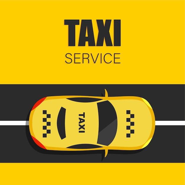 Taxi W Modnym Stylu Mieszkania. żółta Kabina I Widok Z Góry Drogi. Premium Wektorów