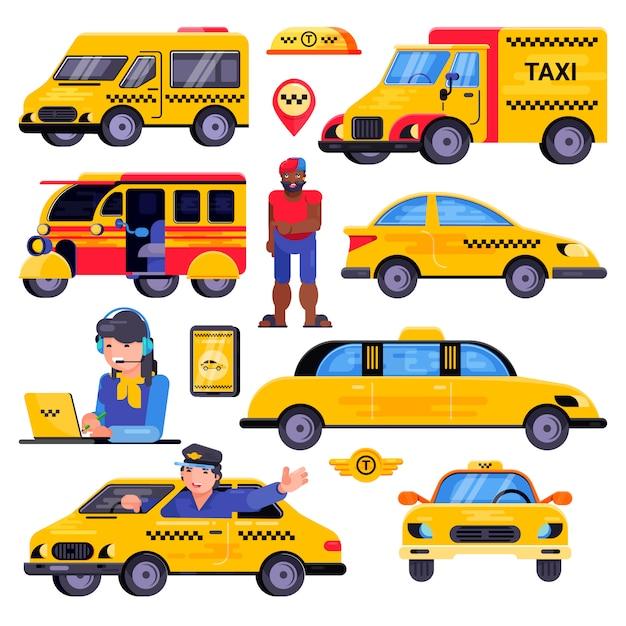 Taxi wektor taksówkarz transportu kierowca człowieka postać w żółty transport samochodowy Premium Wektorów