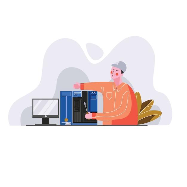 Technik pracuje na osobistej komputerowej wektorowej ilustraci Premium Wektorów