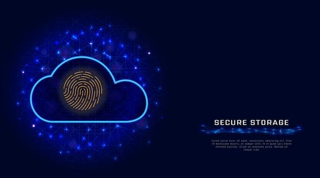 Technologia bezpieczeństwa cybernetycznego. bezpieczna ikona skanera linii papilarnych ochrony danych w chmurze Premium Wektorów