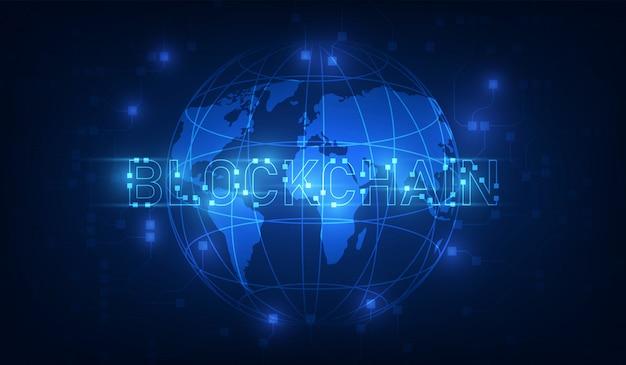 Technologia blockchain na futurystycznym tle z siecią map świata Premium Wektorów