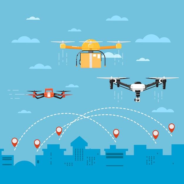 Technologia dronów z latającymi robotami Premium Wektorów