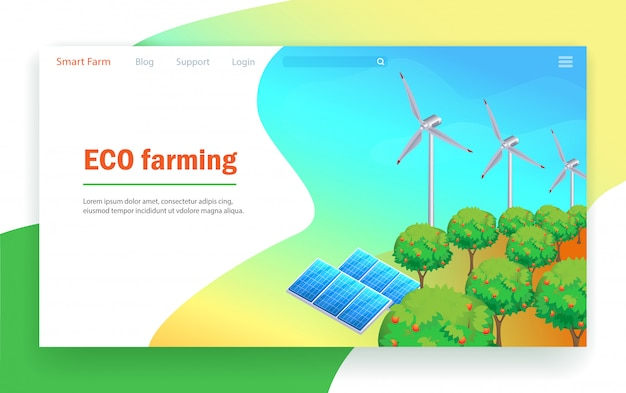 Technologia ekologicznego rolnictwa. Premium Wektorów