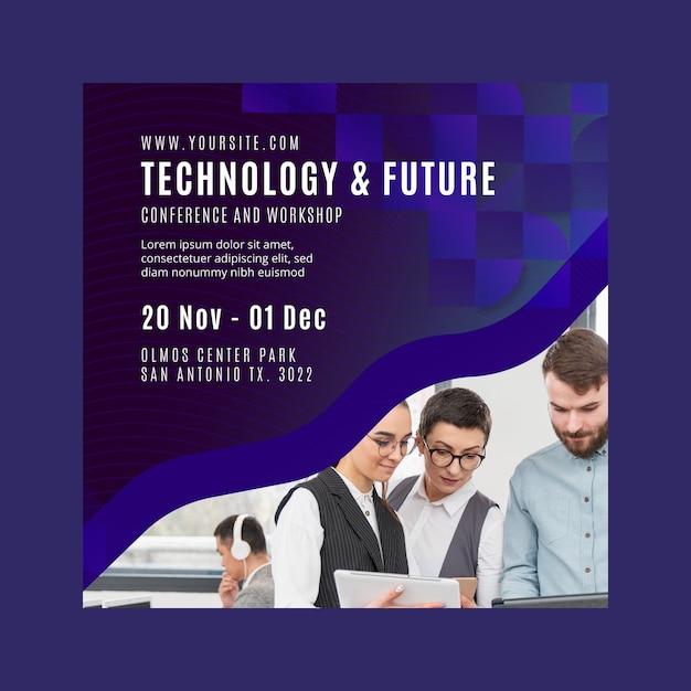 Technologia I Przyszły Biznes Kwadratowy Szablon Ulotki Darmowych Wektorów
