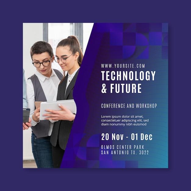 Technologia I Przyszły Kwadratowy Szablon Ulotki Premium Wektorów