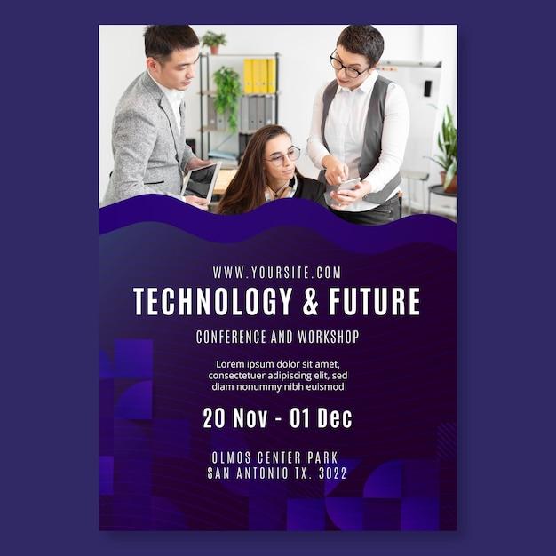 Technologia I Przyszły Szablon Wydruku Ulotki Biznesowej Darmowych Wektorów