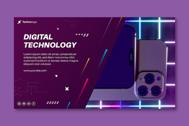 Technologia I Sztandar Przyszłości Premium Wektorów