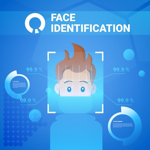 Technologia identyfikacji twarzy system kontroli dostępu scannig man koncepcja rozpoznania biometrycznego Premium Wektorów