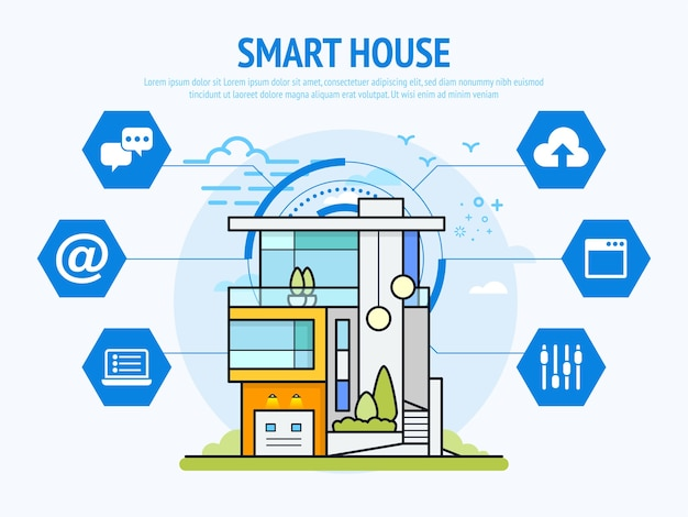 Technologia Inteligentnego Domu Koncepcji Automatyki Domowej Premium Wektorów