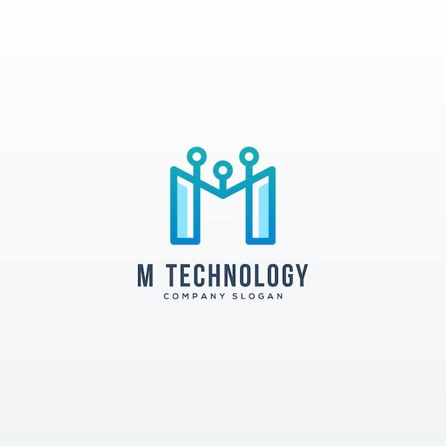 Technologia Logo Z Literą M Ilustracji Wektorowych Wektor