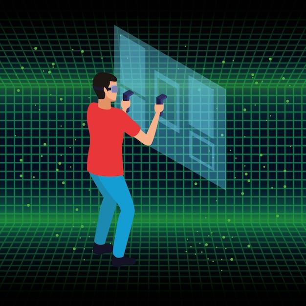 Technologia okularów dla ludzi i rzeczywistości wirtualnej Darmowych Wektorów