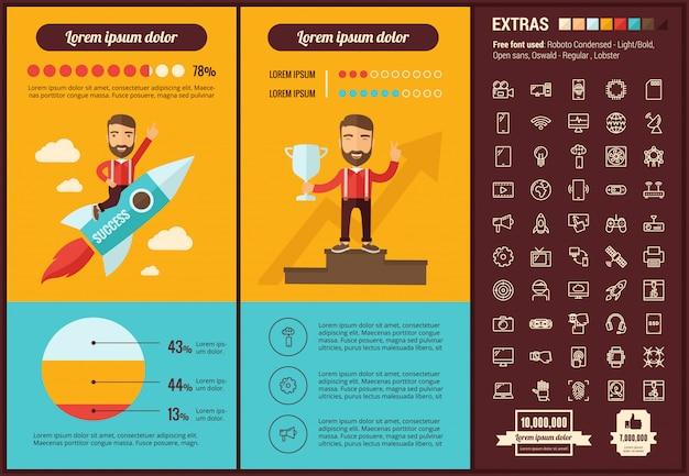 Technologia płaska konstrukcja infographic szablon i ikony ustaw Premium Wektorów