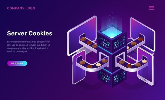 Technologia plików cookie serwera, koncepcja izometryczna Darmowych Wektorów