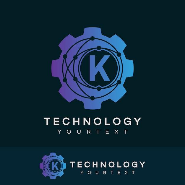 Technologia Początkowa Litera K Logo Design Premium Wektorów