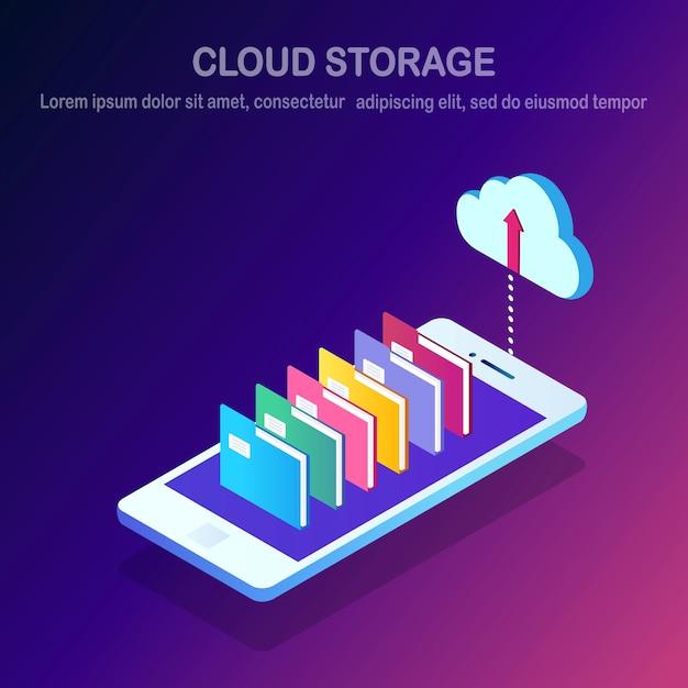 Technologia Przechowywania W Chmurze. Backup Danych. Premium Wektorów