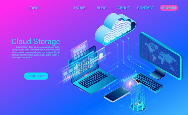 Technologia przechowywania w chmurze i sieci. technologia obliczeniowa online. koncepcja przetwarzania dużych przepływów danych, ilustracja Premium Wektorów