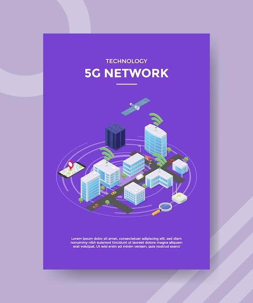 Technologia Satelitarna Sieci 5g Na Szablonie Ulotki Serwera Budowy Miasta Darmowych Wektorów