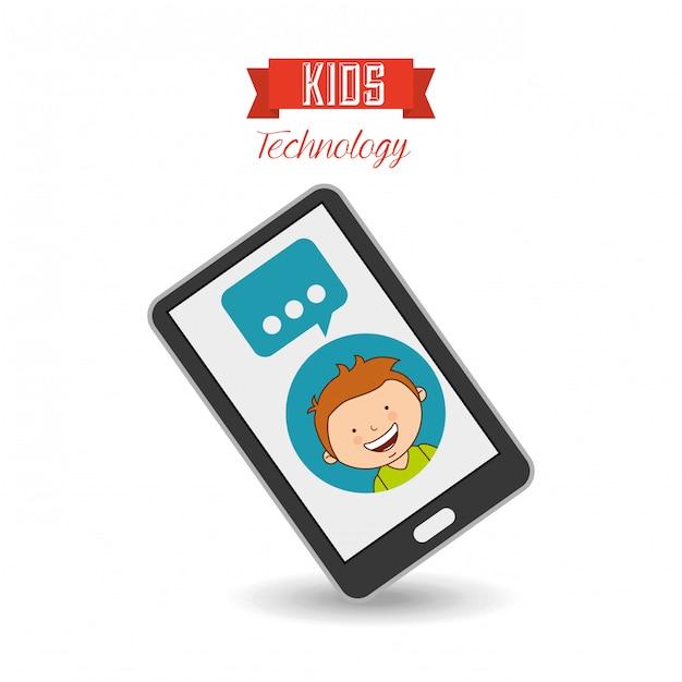 Technologiczne dzieci Premium Wektorów