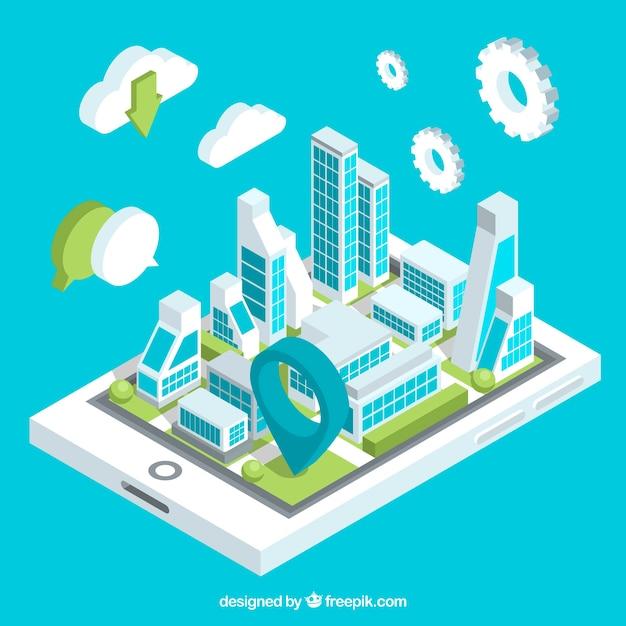 Technologicznie Izometrycznym Tle Miasta Darmowych Wektorów