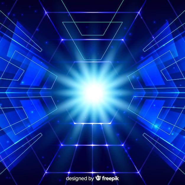 Technologii Pojęcia Tło Z Neonowym światłem Darmowych Wektorów