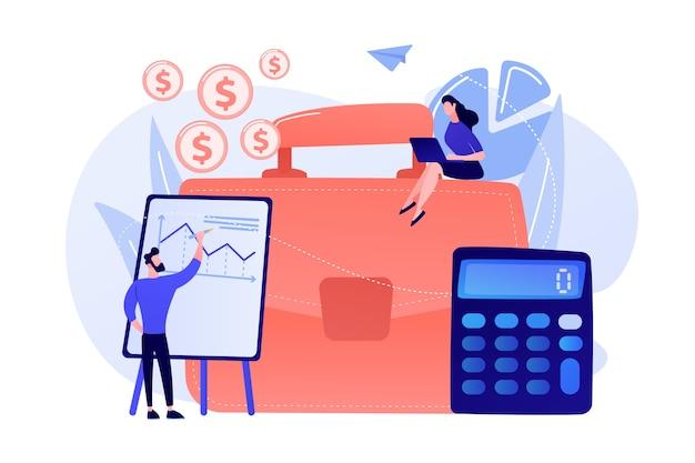 Teczka, Kalkulator I Księgowi Pracujący Z Wykresami I Laptopem. Rachunkowość, Analiza Finansowa I Koncepcja Planowania Na Białym Tle. Darmowych Wektorów