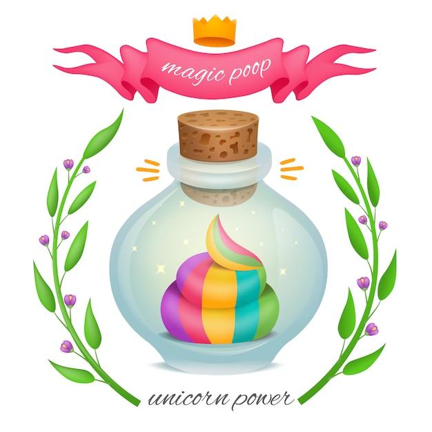 Tęczowa Kupa Jednorożca Wewnątrz Magicznej Butelki Z Ramą W Kwiaty Premium Wektorów