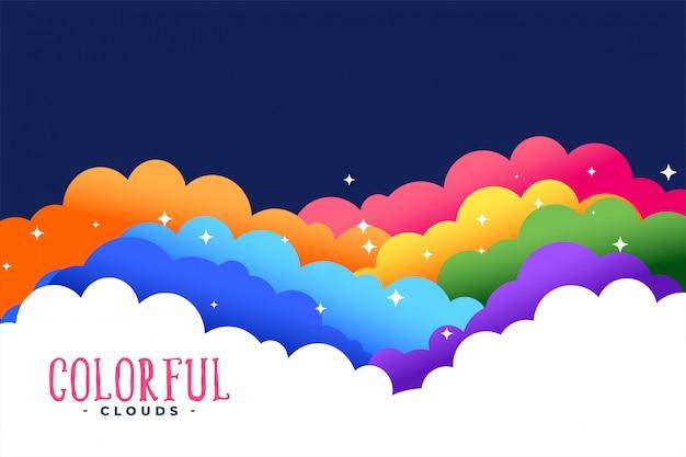 Tęczowe kolory chmury z gwiazdami tła Darmowych Wektorów