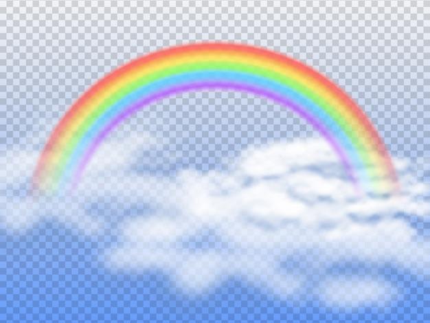 Tęczowy łuk Z Białymi Chmurami W Niebieskim Niebie 3d Premium Wektorów