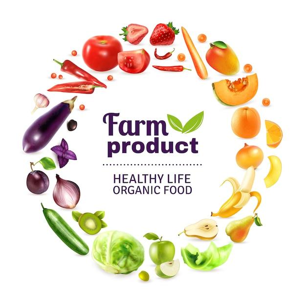 Tęczowy plakat z warzywami i owocami Darmowych Wektorów