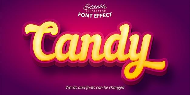 Tekst Candy, Edytowalny Efekt Czcionki Premium Wektorów
