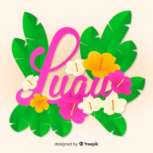 Tekst kwiatowy luau tło Darmowych Wektorów