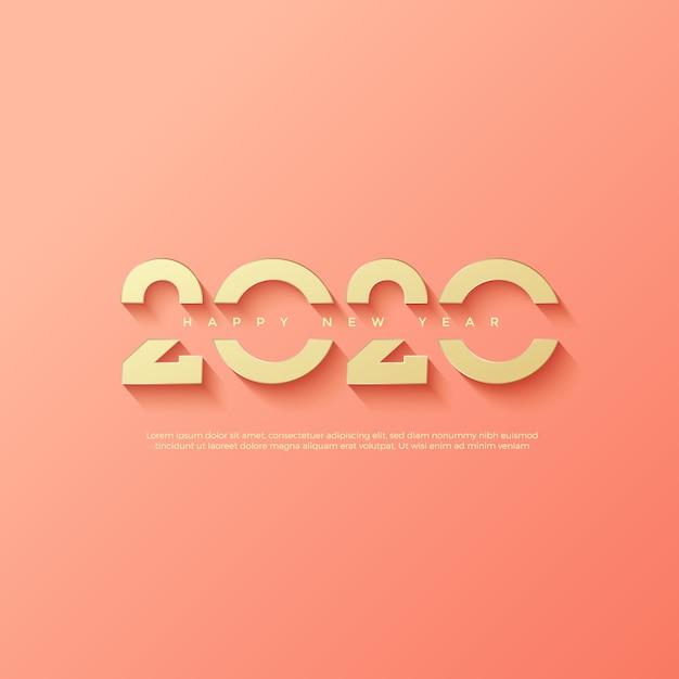 Tekst Logo Szczęśliwego Nowego Roku 2020 Premium Wektorów