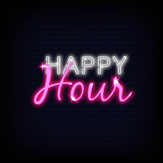 Tekst neon happy hour Premium Wektorów