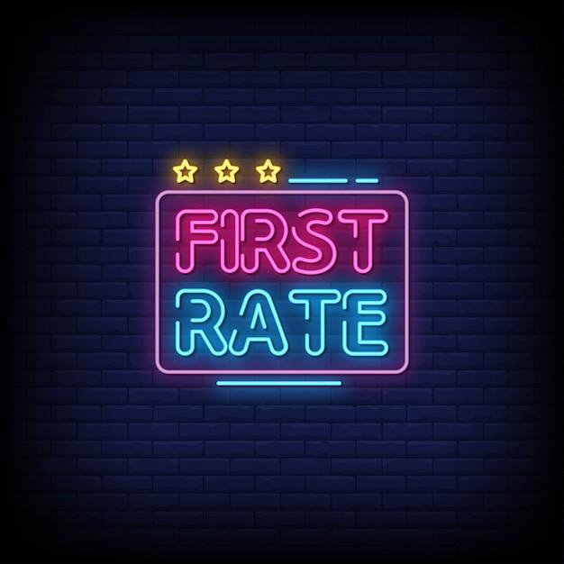 Tekst Pierwszej Kolejności W Stylu Znaków Neonowych Premium Wektorów