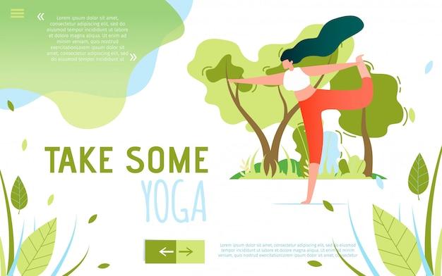 Tekst płaski baner motywujący do podjęcia niektórych jogi Premium Wektorów