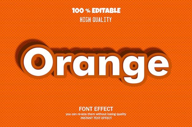 Tekst pomarańczowy, efekt czcionki edytowalnej Premium Wektorów